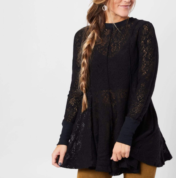 FREE PEOPLE WOMEN#x27;S BLACK LONG SLEEVE COFFEE IN THE MORNING LACE TUNIC TOP Sz M