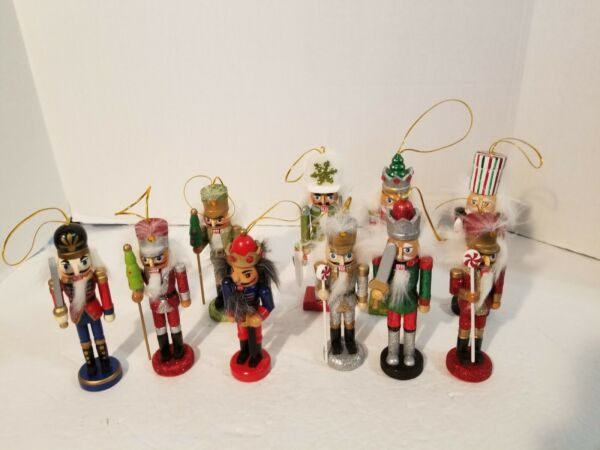 10 Large Wood Ornaments Christmas Toy Soldier Nutcracker Wooden Lot