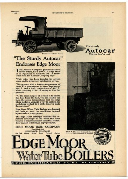 1923 Edge Moor Iron Co. Ad: Shows Boiler in Autocar Trucks Plant Ardmore PA $14.88