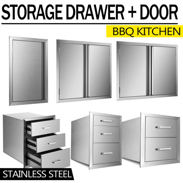 NEW OUTDOOR KITCHEN BBQ ISLAND STAINLESS STEEL DOUBLE ACCESS DOOR Drawer