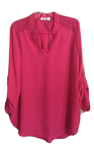 Tunic Blouse Cato Pink Lace Decor Long Sleeve Roll Tab Women's Size XL SHEER