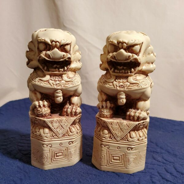 Pair Asian Foo Lion Dogs Statues 5 1 2quot; High $89.99