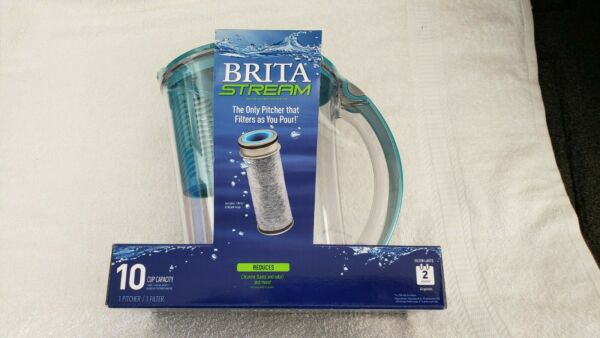 Brita Water Filter Pitcher 10 Cup Purifier • Filter as You Pour • Stream • New