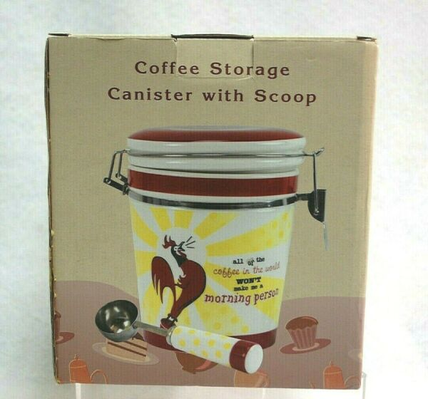 Ceramic Rooster Coffee Storage Canister with Scoop from Cracker Barrel New S9436