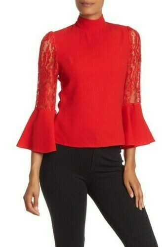 Gracia Red Lace Bell 3 4 Sleeve Blouse Size S $35.00