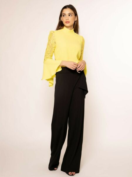 Gracia Yellow Neon Lace Bell 3 4 Sleeve Blouse Size S $35.00