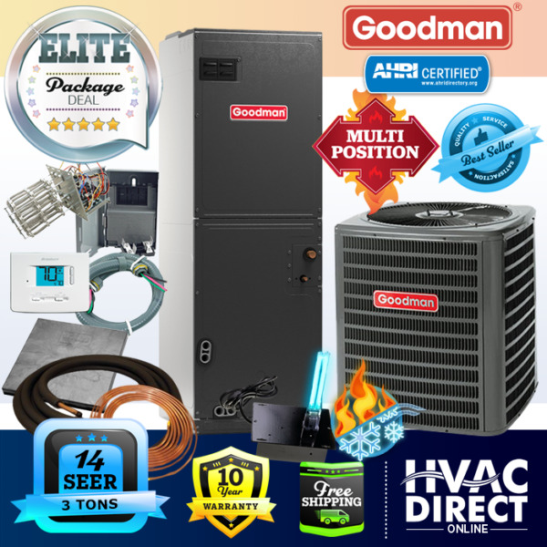 3 Ton 14 SEER Goodman Heat Pump System Complete Install Kit Free Accessories $2550.00