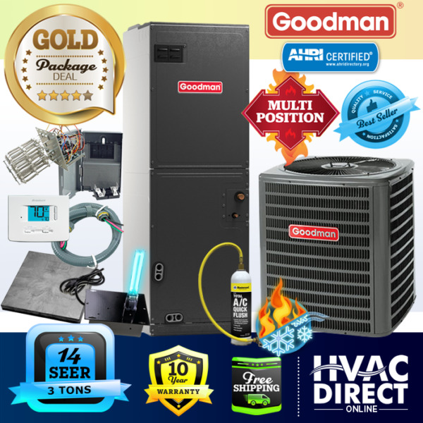 3 Ton 14 SEER Goodman Heat Pump A C System Replacement Flush Install Kit $2394.00