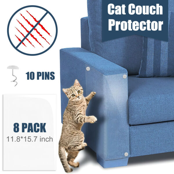 8Pack Clear Anti cat Scratch Couch Furniture Protectors Guards Tape from Cat Pet $14.99