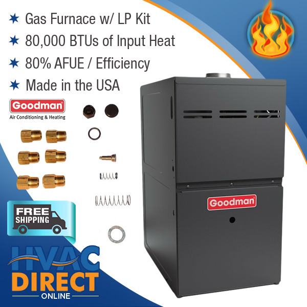 80K BTU 80% AFUE ECM 1 Stage Goodman Gas Furnace Upflow Horizontal with LP Kit $858.00