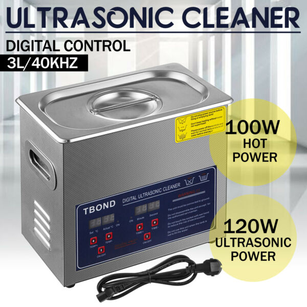 Stainless Steel Industry Ultrasonic Cleaner 3L Heated Heater w Timer USA