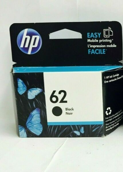 New Genuine HP 62 Black Ink Cartridge Envy 5540 5541 Officejet 5740