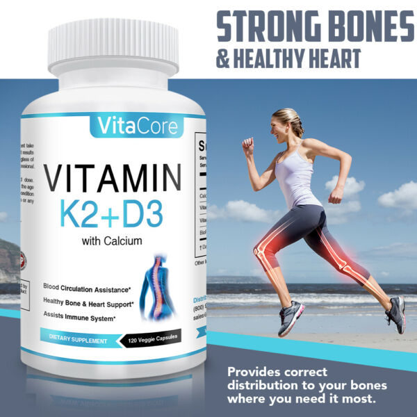 Vitamin K2 MK7 with D3 5000 IU with Calcium 120 Capsules 4 months supply $11.99