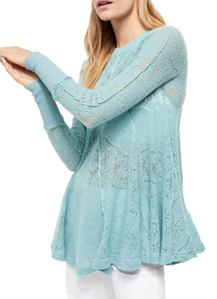 FREE PEOPLE ASTRAL SEA LONG SLEEVE COFFEE IN THE MORNING LACE TUNIC TOP Sz L