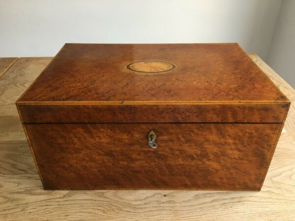Antique thuya wood large box with lift out tray and key