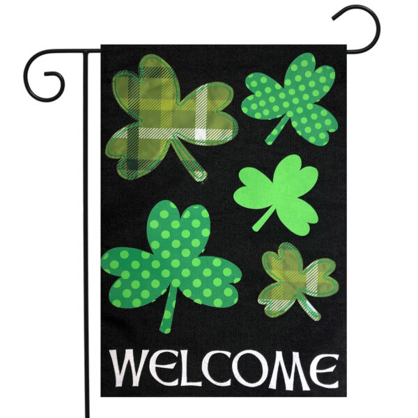 Shamrocks St. Patrick#x27;s Day Burlap Garden Flag Welcome 12.5quot;x18quot; Briarwood Lane