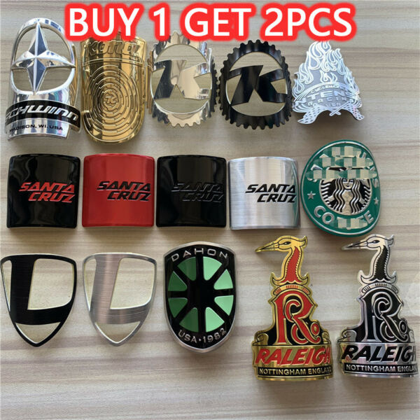 Metal Bike Head Badge BMX Decals Bicycle Fixed Gear Tube Frame Stickers decals