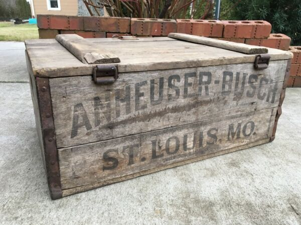 1918 Vintage Wooden Beer Crate Anheuser Busch St Louis Missouri Wood Brewery Box