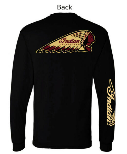 Indian Motorcycle 1901 graphic Long sleeve T Shirts Black Vintage Biker
