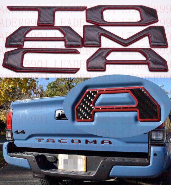 Tailgate Insert Letters fits 2016 2021 Toyota Tacoma Black Fiber Red Outline $27.89