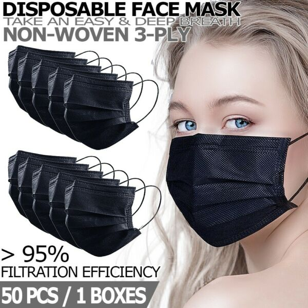 50 PCS Black Disposable Face Mask Non Medical 3 Ply Earloop Dust Cover Masks