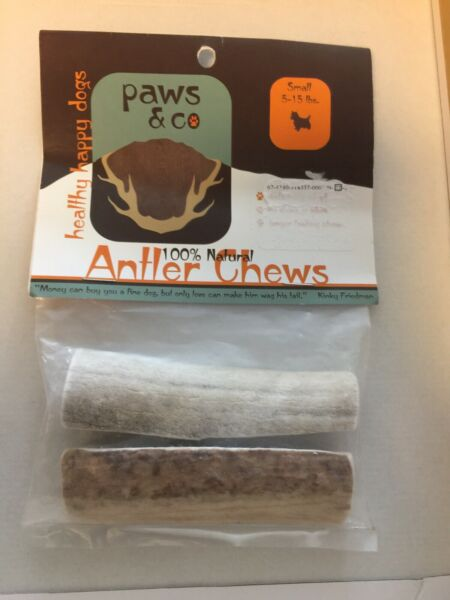 New Paws amp; Co 100% Natural Antler Chews 1 Package 2 Antlers Small Dogs 15 30 lbs $11.99
