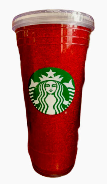 Starbucks 20oz Plastic Tumbler Sparkle Glitter HOLIDAY RED Cup
