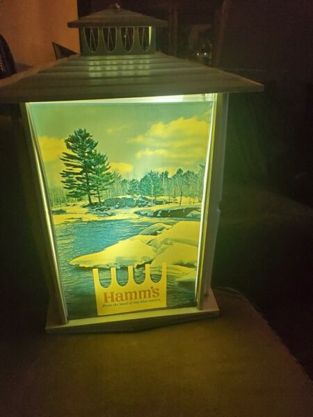 Lighted Vintage Hamms Beer Sign Works    Water River Winter Scene