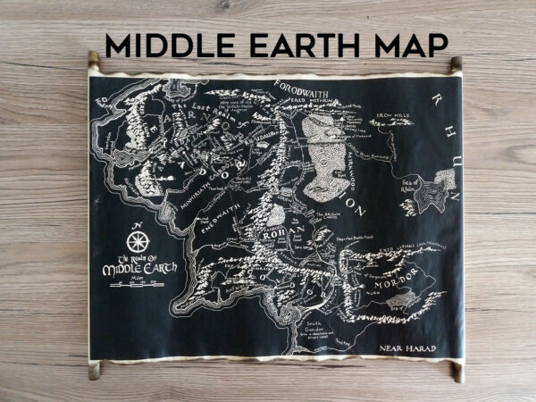Map of Middle Earth Handmade Scroll Black Map of Middle Earth Tolkien Scroll Map