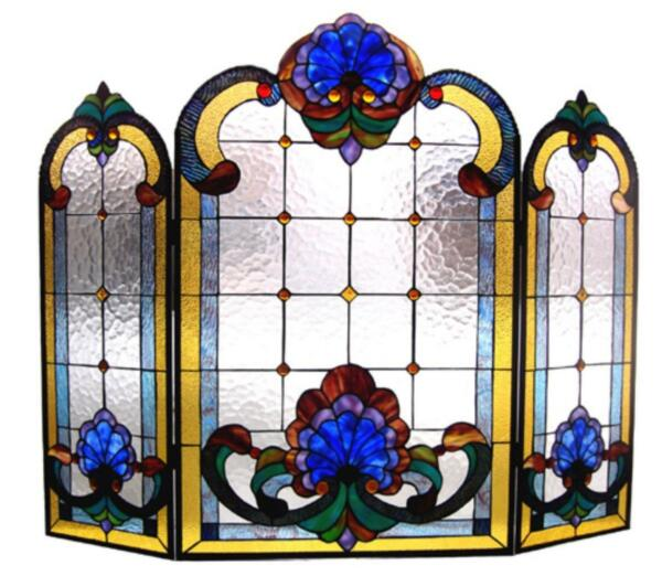 Stained Glass Chloe Lighting Victorian 3 Piece Folding Fireplace Screen 40 X 31quot;