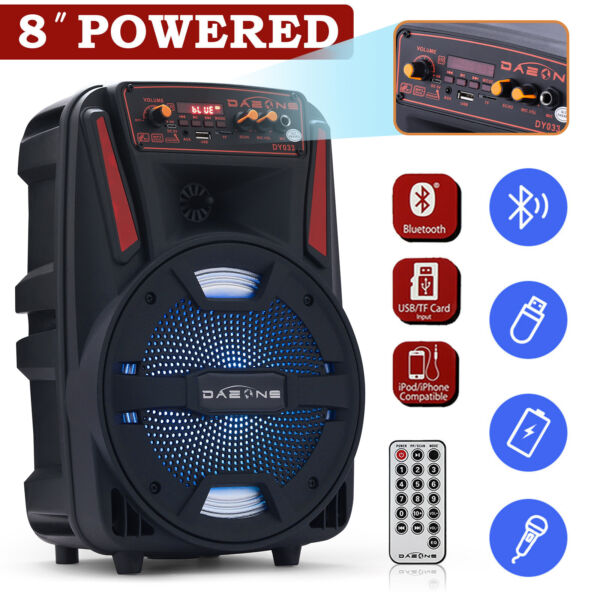 8quot; 1000W Portable FM Bluetooth Speaker Sound System DJ Party PA Tailgate Remote