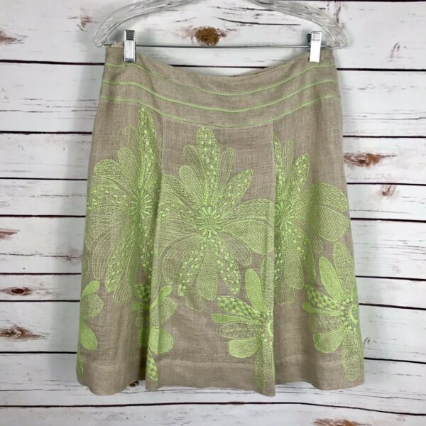 Carlisle Linen Burlap Skirt Silk Green Floral Embroidery Lined A Line Size 8