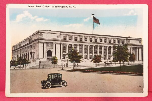 Old Postcard 1920s Washington DC New Post Office USPS Cost $3000000 B1 $3.50
