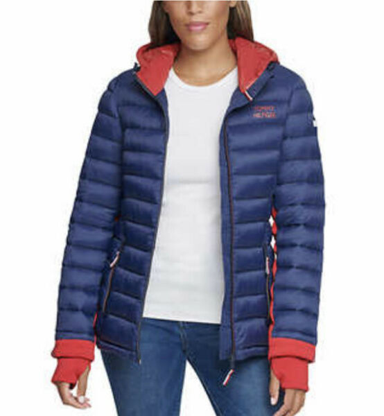 NWT Tommy Hilfiger Ladies Packable Jacket Color Blue Size S $26.50