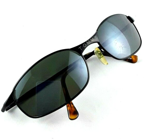 Vintage TOMMY Mens Black Sunglasses with Amber Tortoise Temples $23.96