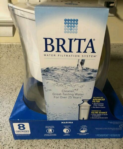 Brita Water Filtration 8 Cup Marina BPA Free Water Pitcher 1 Filter White #bb12