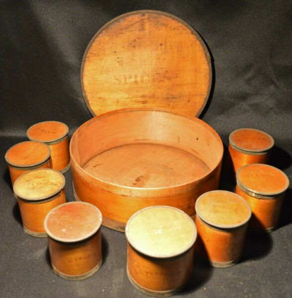 1858 Patent Package Co Wood Bentwood Spice Set 8 Spice Containers in Pantry Box