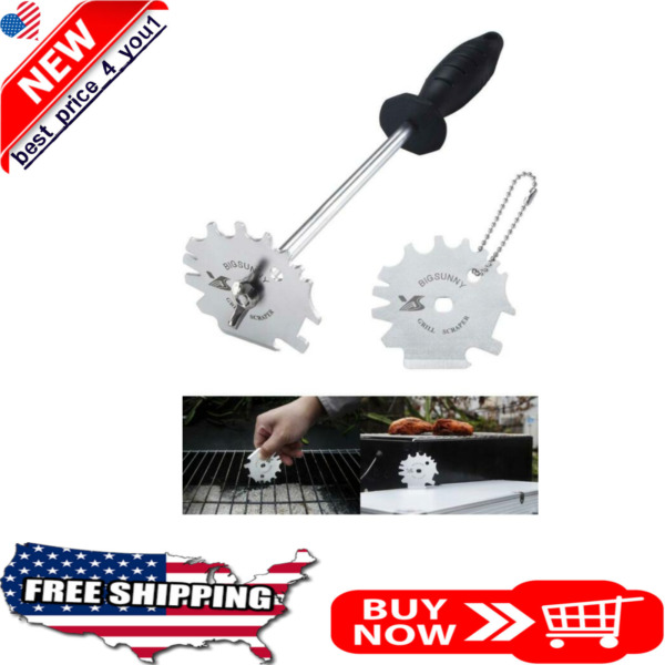 Grip Stainless Steel Grill Scraper for BBQ Grate and Griddle 12quot; Scraper Clean