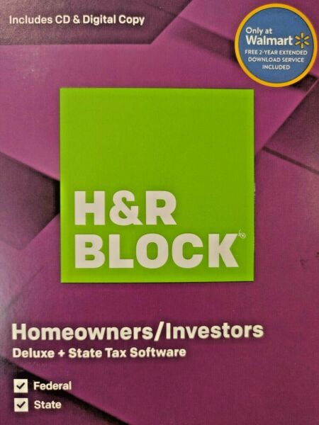 Hamp;R Block Tax Software Deluxe Federal and State for PC Mac 2019
