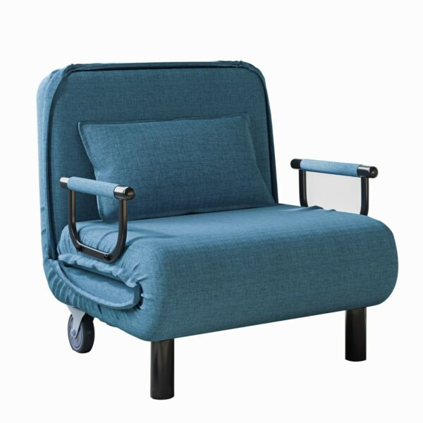 Convertible Folding Lounge Chair Bed Sofa Couch Recliner Leisure Chaise w Caster