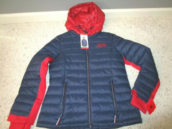 WOMENS TOMMY HILFIGER PUFFER PACKABLE NAVY CRIMSON JACKET FULL ZIP HOODED M NWT $42.98