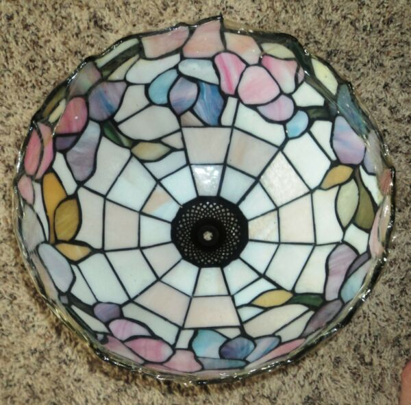 New Tiffany Style Stained Glass Lamp Shade Floral Pattern Heavy