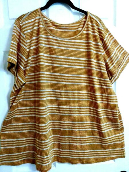 Ryllace NWT Everyday Luxury 100% Organic Linen Stretch Top Plus 3X Golden Taupe $30.00