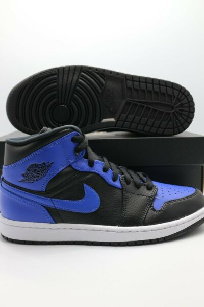 Nike Jordan 1 Mid Black Royal Tumble Leather 554724 077 Men#x27;s amp; GS Sizes