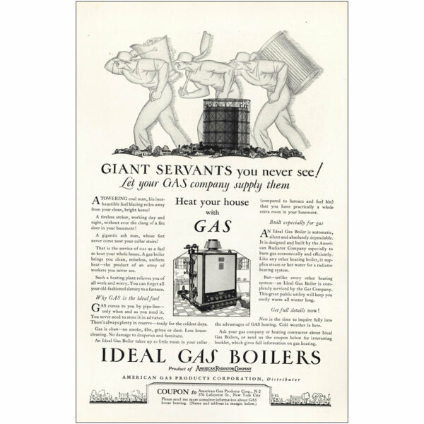 1927 Ideal Gas Boilers: Giant Servants You Never See Vintage Print Ad $6.75