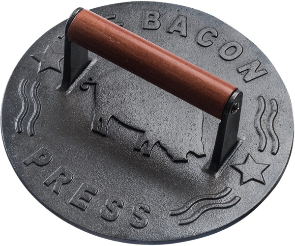 Cast Iron Grill Press Heavy Duty Bacon Press with Wood Handle 8.5 Inch Round
