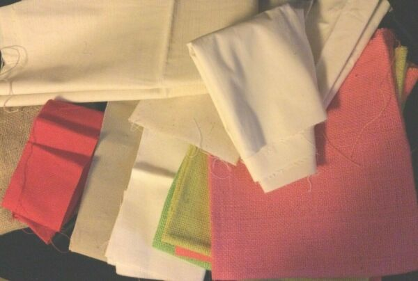 Mixed Lot of Crafting Fabric: Colored Burlap Muslin Canvas Weavers cloth