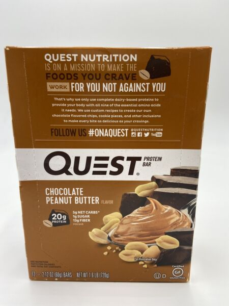 Quest Nutrition Protein Chocolate Peanut Butter Bar 12 Bars; Exp 11 21 20