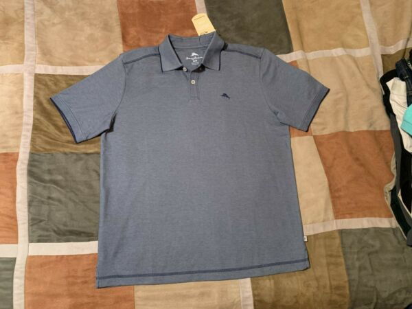 Tommy Bahama blue embroidered marlin moisture wicking polo shirt M men NEW $29.92