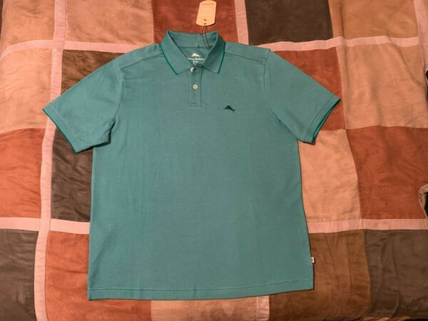 Tommy Bahama green embroidered marlin moisture wicking polo shirt M men NEW $29.92